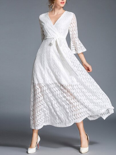 Trumpet Sleeve Tie Waist Lace Dress