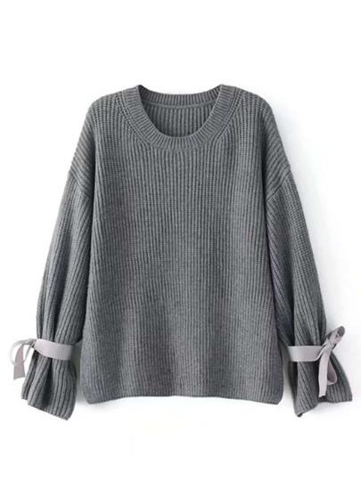 Suéter de hombros caídos con lazo de cinta