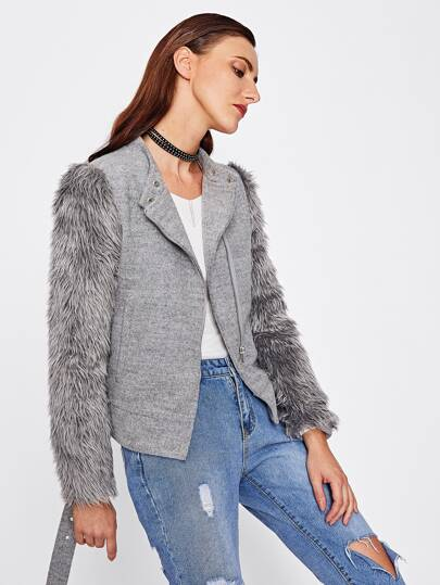 Faux Fur Sleeve Belted Hem Heathered Jacket