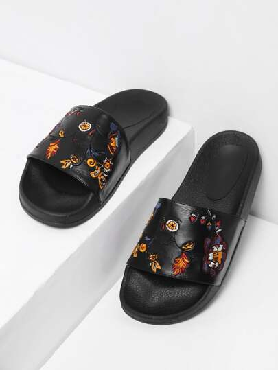 Flower Embroidery PU Slip On Sandals