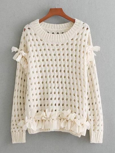 Suéter con abertura con nudo de malla