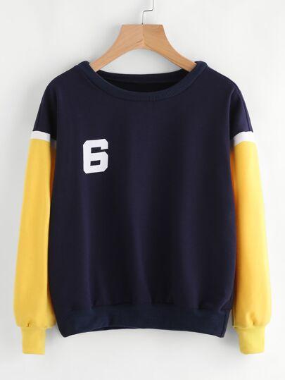 Contrast Sleeve Varsity Print Sweatshirt