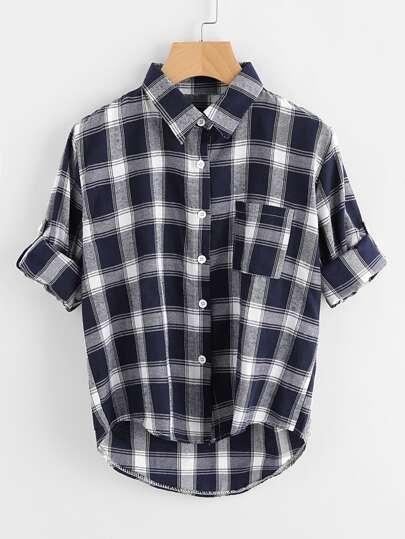 Roll Tab Sleeve Dip Hem Tartan Shirt