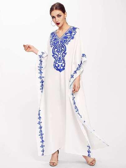 Kleid mit Damastmuster