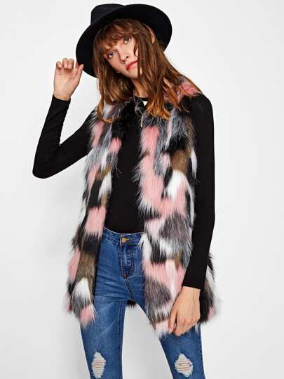 Hidden Pocket Colorful Faux Fur Vest