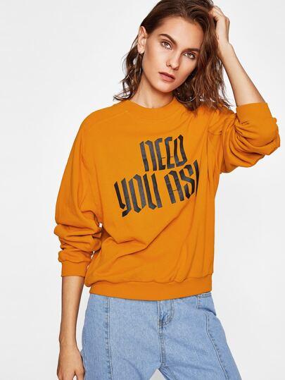 Ribbed Trim Graphic Sweatshirt