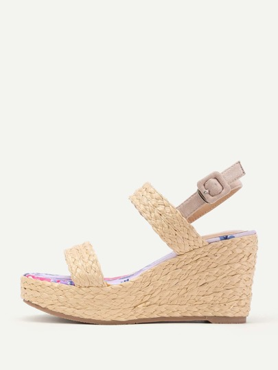 Open Toe Platform Straw Wedge Sandals
