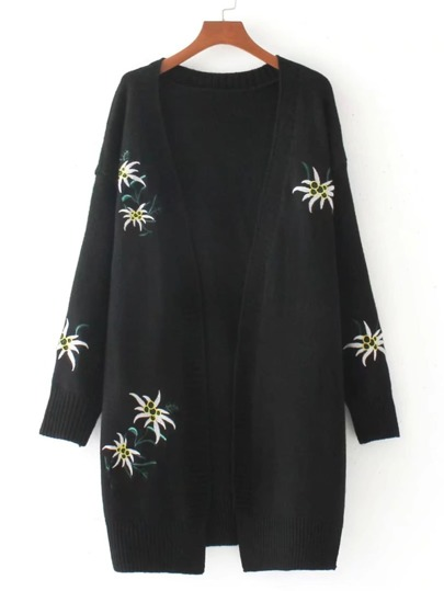 Embroidery Detail Open Front Longline Cardigan