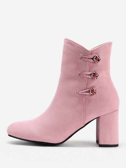 Flower Button Side Zipper Heeled Boots