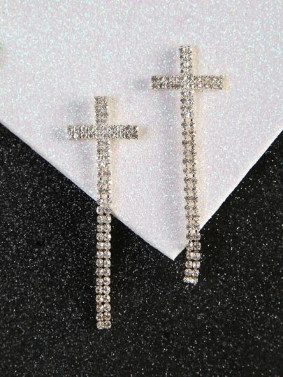 Diamond Cross Earrings GOLD