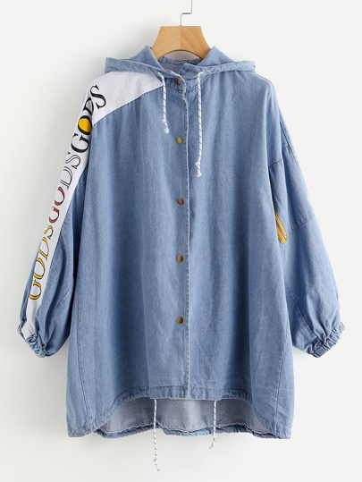 Hooded Drawstring Letter Print Dip Hem Denim Coat