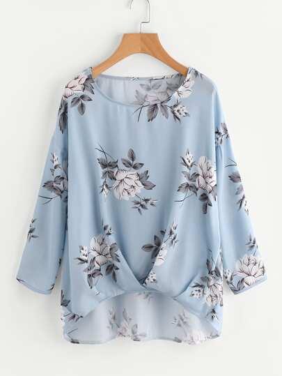 Bluse mit Plissee und Blumenmuster