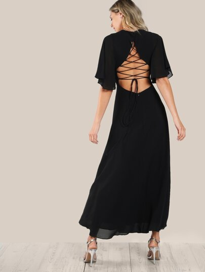 Tie Up Open Back Flutter Sleeve Slit Dress