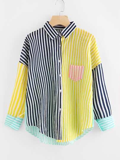 Blusa de rayas en contraste de hombro caído