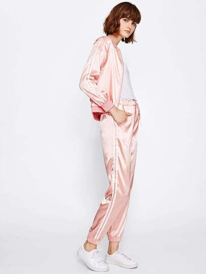 Satin Ribbed Trim Tape Side Jacket With Sweatpants