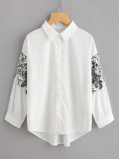 Hollow Out Crochet Lace Panel Dip Hem Shirt