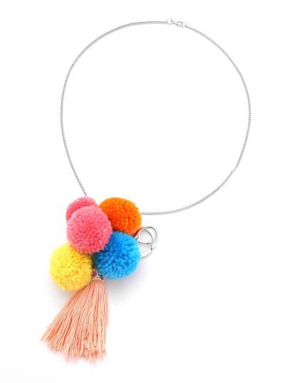 Pom Pom & Tassel Chain Necklace/Keychain