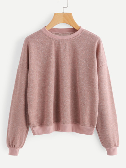 Ribbed Trim Drop Shoulder Sparkle Sweatshirt