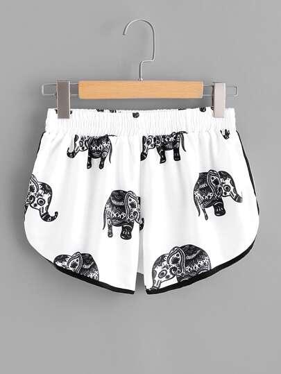 Ringer Shorts mit Elefant Muster