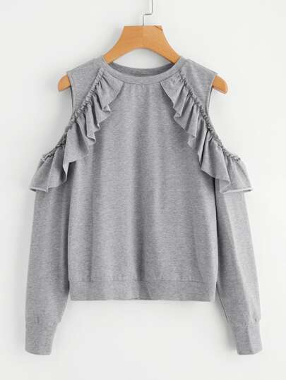 Frilled Open Shoulder Heather Knit Sweatshirt