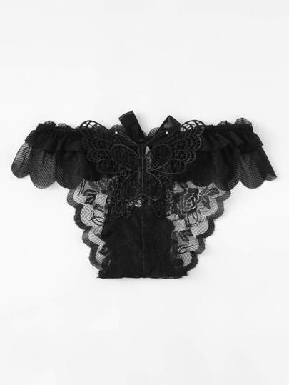 Butterfly & Bow Embellished Ruffle Panty