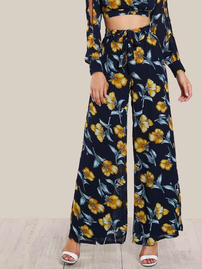 Floral Print Mesh Overlay Pants NAVY