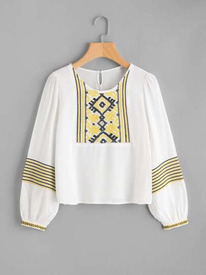 Lantern Sleeve Embroidered Top