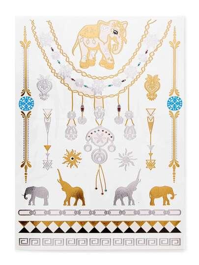 Tätowierungsaufkleber mit Elefant und Geometrie Muster