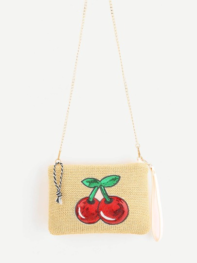 Sequin Cherry Pattern Straw Chain Bag