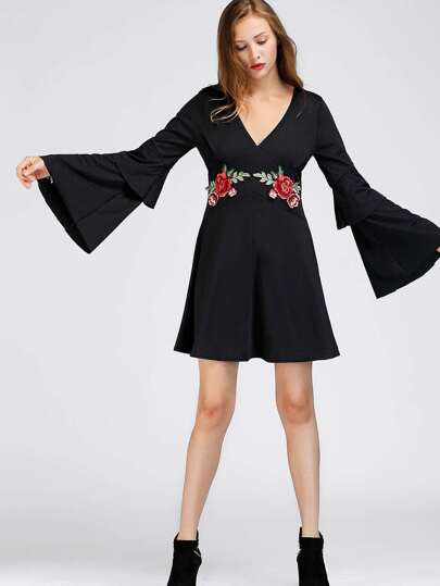 V-neckline Tiered Flute Sleeve Embroidered Patch Dress