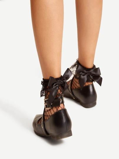 Lace Trim Bow Back Fishnet Ankle Socks