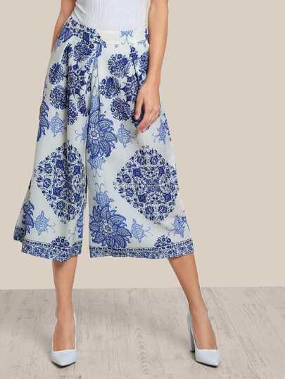 Multi Print High Rise Pants BLUE