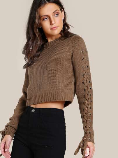 Lace Up Sleeve Knitted Crop Top BROWN