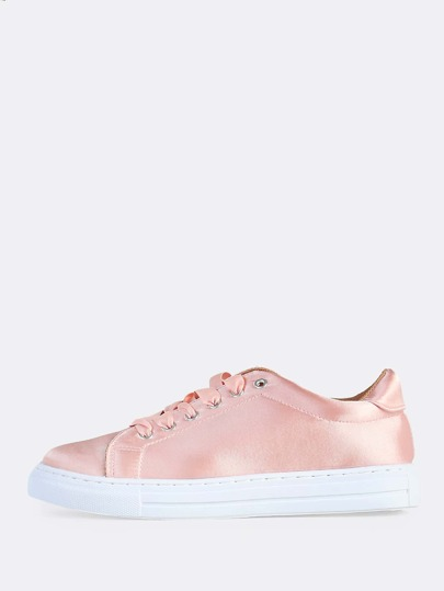 Flat Lace Up Satin Sneakers BLUSH