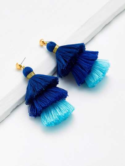 Two Tone Layered Tassel Drop Earrings