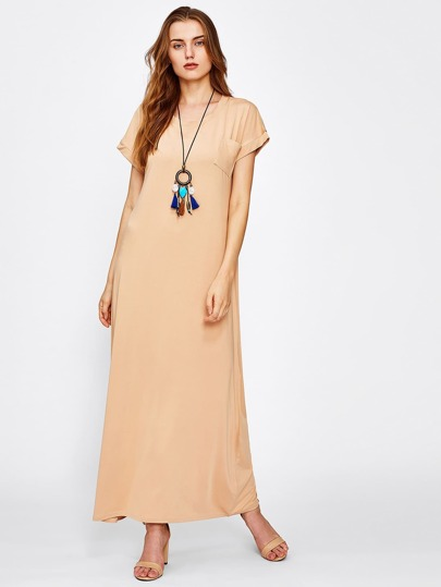 Longline Tee Dress With Chest Patch Pocket
