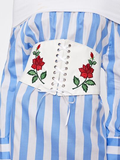 Flower Embroidery Lace Up Corset Belt