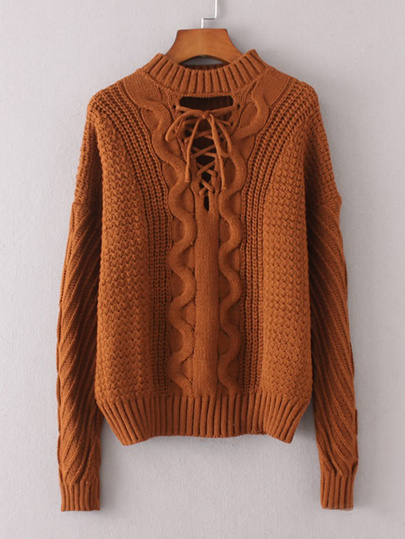 Lace Up Front Cable Knit Sweater