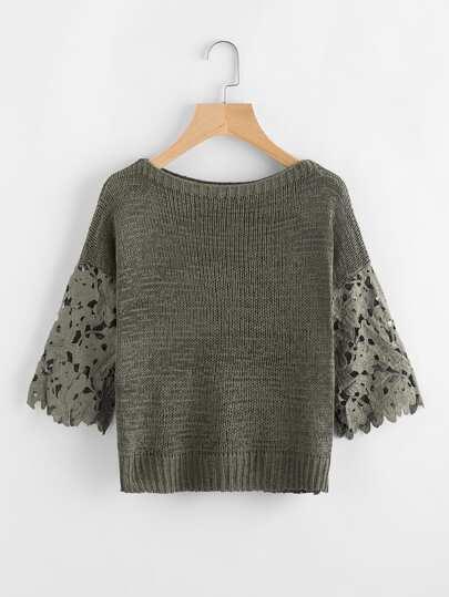 Pullover mit Aushöhlen und Häkelbesatz auf den Ärmeln
