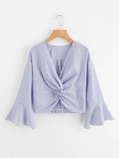 Twist Front Fluted Sleeve Striped Top