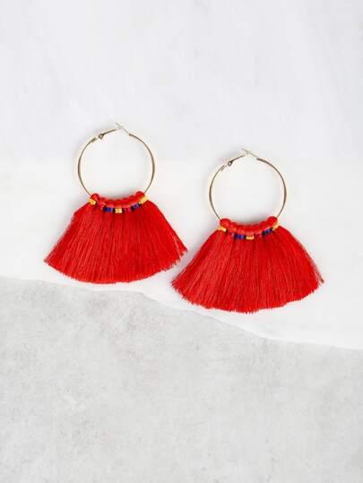 Hoop Tassel Earrings RED
