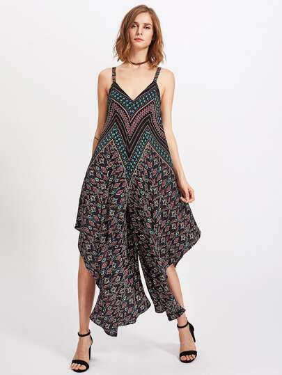 Ornate Print Super Wide Leg Jumpsuit