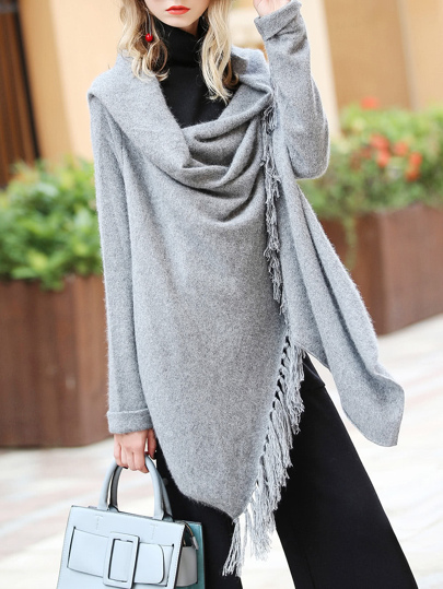 Sleeve Asymmetric Fringe Sweater