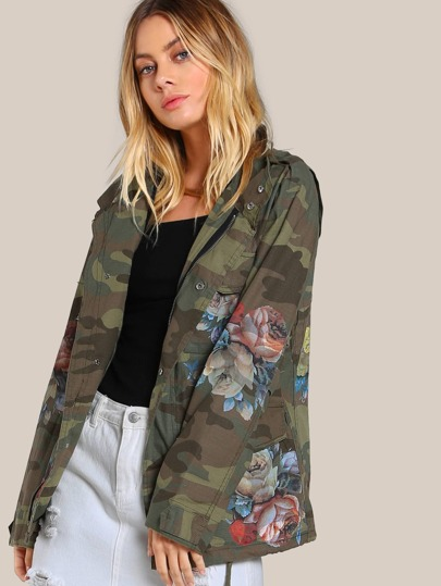 Flower Painted Camo Jacket OLIVE