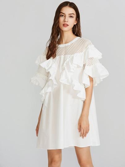 Fishnet Shoulder Flounce Trim Dress
