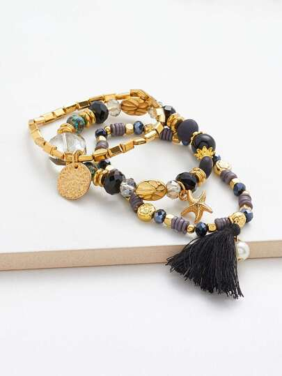 Tassel & Starfish Drop Bracelet Set 3pcs