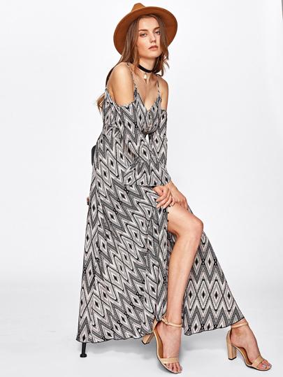 Shirred Empire Waist Fluted Sleeve Dress