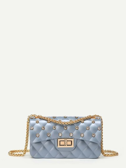 Rhinestone Decorated Chain Crossbody Bag