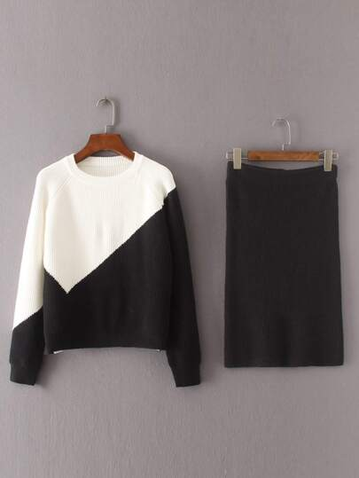 Two Tone Raglan Sleeve Sweater With Skirt