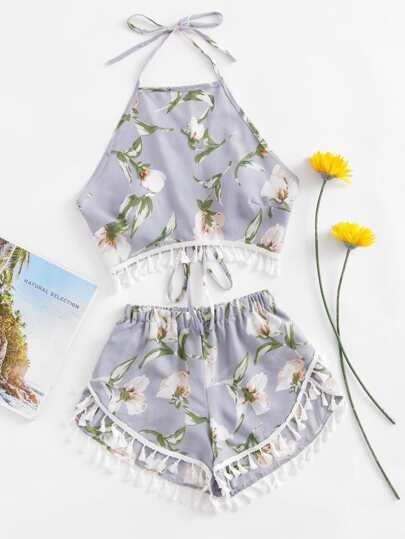 Botanical Print Tassel Hem Halter Top With Shorts